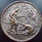 Photo numismatique  Monnaies Médailles Etrangères Espagne, Spain Médaille en bronze argenté Espagne, Spain, médaille en bronze argenté 42 mm, Carlos III von Osterreich, Barcelona 1705, 22,75 grms, TB à TTB