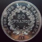 Photo numismatique  Monnaies Monnaies Fran�aises Cinqui�me r�publique 50 Francs 50 francs hercule 1980, G.882, petites t�ches sinon SUPERBE � FDC