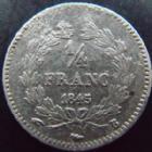 Photo numismatique  Monnaies Monnaies Françaises Louis Philippe 1/4 de Franc LOUIS PHILIPPE I, 1/4 de franc 1845 B Rouen, G.355 TB