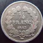 Photo numismatique  Monnaies Monnaies Françaises Louis Philippe 1/4 de Franc LOUIS PHILIPPE I, 1/4 de franc 1843 B Rouen, G.355 TB à TTB