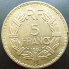 Photo numismatique  Monnaies Monnaies Françaises Gouvernement Provisoire 5 Francs 5 francs Lavrillier 1946 C, cupro-aluminium, G.761a TTB à SUPERBE