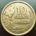Photo numismatique  Monnaies Monnaies Françaises 4ème république 10 Francs 10 francs Guiraud 1954, G.812 TTB R!