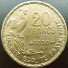 Photo numismatique  Monnaies Monnaies Françaises 4ème république 20 Francs 20 francs G.Guiraud 1950 B queue à 3 fauçilles, G.815 TTB R!