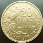 Photo numismatique  Monnaies Monnaies Françaises 4ème république 20 Francs 20 francs G.Guiraud 1950 queue à 3 fauçilles, G.865 TTB+ R!