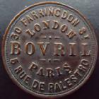 Photo numismatique  Monnaies Jetons Jetons publicitaire, Jeton de commerce, Jeton de magasin Jeton rond Paris, Londres, Bovril, jeton 20,5 mm, le plus merveilleux aliment du seigle, TTB