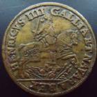 Photo numismatique  Monnaies Jetons Henri IV, Henri IIII Jeton rond HENRI IV, Jeton 27 mm, non daté, henri IV à cheval, F.11960 Variante, TTB+