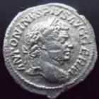 Photo numismatique  Monnaies Empire Romain CARACALLA Denier, denar, denario, denarius CARACALLA, denier Rome en 215, le soleil à gauche, 2,63 grms, RIC.281b TB+