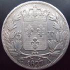 Photo numismatique  Monnaies Monnaies Fran�aises Charles X 5 Francs CHARLES X, 5 francs 1827 A Paris, G.644 coup sur la joue sinon TB+