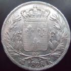 Photo numismatique  Monnaies Monnaies Fran�aises Charles X 5 Francs CHARLES X, 5 francs 1828 K Bordeaux, G.644 stries d'ajustage et traces de nettoyage, TB � TTB
