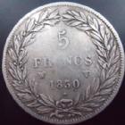 Photo numismatique  Monnaies Monnaies Françaises Louis Philippe 5 Francs LOUIS PHILIPPE, 5 francs 1830 W Lille, sans le I, G.675 TB Rare!