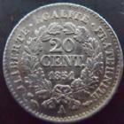 Photo numismatique  Monnaies Monnaies Françaises Deuxième République 20 Cmes 20 centimes Cérès 1851 A Paris, G.303 SUPERBE