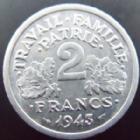 Photo numismatique  Monnaies Monnaies Françaises Etat Français 2 Francs 2 francs Bazor 1943 aluminium, G.536 SUPERBE