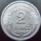 Photo numismatique  Monnaies Monnaies Françaises Gouvernement Provisoire 2 Francs 2 francs Morlon 1944 aluminium, G.538a TTB+
