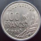 Photo numismatique  Monnaies Monnaies volées 4ème République 100 francs Chouette 100 francs Cochet 1958 Chouette, volee lors du salon de Strasbourg Février 2014