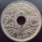 Photo numismatique  Monnaies Monnaies Françaises Troisième République 25 centimes Lindauer 25 centimes Lindauer 1917 non souligné, G.380 TTB+