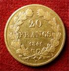 Photo numismatique  Monnaies Monnaies Françaises Louis Philippe 20 Francs or LOUIS PHILIPPE, 20 Francs or 1844 A, Gadoury 1031 TTB