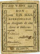 Photo numismatique  Billets Billets de confiance Assignats Wassy le Buisson Bon de dix sous WASSY LE BUISSON, bon pour dix sous, TTB R!