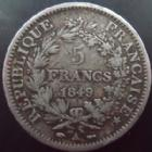 Photo numismatique  Monnaies Monnaies Fran�aises Deuxi�me R�publique 5 Francs 5 Francs Hercule 1849 A Paris, G.683 TB
