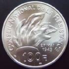 Photo numismatique  Monnaies Monnaies Françaises Cinquième république 100 Francs Jean Moulin 37 mm 100 Francs 1993, jean Moulin, argent 37 mm, 22,2 grms 900°/°°, BU avec ecrin et certificat