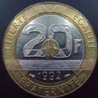 Photo numismatique  Monnaies Monnaies Fran�aises Cinqui�me r�publique 20 Francs 20 francs Mont Saint Michel, 1992 V ouvert, G.871  SUPERBE