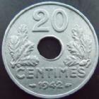 Photo numismatique  Monnaies Monnaies Françaises Etat Français 20 Cmes 20 centimes 1942 zinc, G.321 SUPERBE