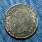 Photo numismatique  Monnaies Monnaies Françaises Second Empire 20 Cmes Second Empire, NAPOLEON III 2O Centimes 1867 A, Gadoury 309 TTB à SUPERBE