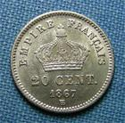 Photo numismatique  Monnaies Monnaies Françaises Second Empire 20 Cmes Second Empire, NAPOLEON III 20 Centimes 1867 BB Strasbourg, Gadoury 309 SUPERBE