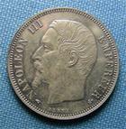 Photo numismatique  Monnaies Monnaies Françaises Second Empire 1 Franc Second Empire, NAPOLEON III, 1 Franc 1857 A tête nue, Gadoury 460 SUPERBE +