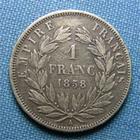 Photo numismatique  Monnaies Monnaies Françaises Second Empire 1 Franc Second Empire, NAPOLEON III, 1 Franc 1858 A Paris, tête nue, Gadoury 460  TB