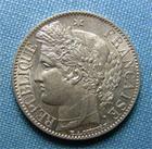 Photo numismatique  Monnaies Monnaies Françaises Deuxième République 1 Franc Iième République, 1 Franc type Cérès 1849 A Paris, Gadoury 457 SUPERBE +