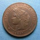 Photo numismatique  Monnaies Monnaies Fran�aises Troisi�me R�publique 10 Centimes III�me R�publique, 10 Centimes type C�r�s 1897 A Paris, Gadoury 265 a TTB � SUPERBE