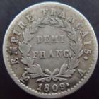 Photo numismatique  Monnaies Monnaies Fran�aises 1er Empire Demi franc NAPOLEON Ier, demi franc 1809 A, G.399 TB � TTB