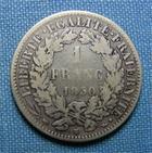 Photo numismatique  Monnaies Monnaies Françaises Deuxième République 1 Franc IIème République, 1 Franc type Cérès 1850 BB Strasbourg, Gadoury 457  TB+ R!RARE!