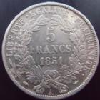 Photo numismatique  Monnaies Monnaies Françaises Deuxième République 5 Francs 5 francs Cérès 1851 A, G.719 TTB