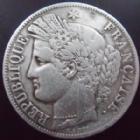Photo numismatique  Monnaies Monnaies Françaises Deuxième République 5 Francs 5 francs Cérès 1850 K Bordeaux, G.719 traces de nettoyage, TB à TTB Rare!