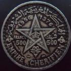 Photo numismatique  Monnaies Anciennes colonies Françaises Maroc 500 Francs MAROC, MOROCCO, Mohammed V, 500 francs 1956, LEC.293 TTB/TTB+