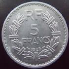 Photo numismatique  Monnaies Monnaies Françaises Gouvernement Provisoire 5 Francs 5 francs Lavrillier 1945, aluminium, G.766 SUPERBE+