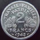 Photo numismatique  Monnaies Monnaies Françaises Etat Français 2 Francs 2 francs Bazor 1943, aluminium, G.536 SUPERBE+