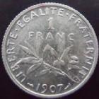 Photo numismatique  Monnaies Monnaies Françaises Troisième République 1 Franc 1 franc Semeuse de Roty 1907, G.467 TTB