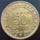 Photo numismatique  Monnaies Monnaies Françaises Troisième République Bon pour 50 centimes Bon pour 50 centimes Domard 1923, G.421 SUPERBE