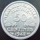 Photo numismatique  Monnaies Monnaies Françaises Etat Français 50 Centimes 50 centimes Bazor aluminium 1942, G.425 SUPERBE+
