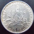 Photo numismatique  Monnaies Monnaies Françaises Troisième République 1 Franc 1 franc Semeuse de Roty 1915, G.467 SUPERBE