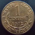 Photo numismatique  Monnaies Monnaies Françaises Troisième République 1 Centime 1 centime Daniel Dupuis 1912, G.90 petit manque de métal à 10h00, SUPERBE+