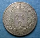 Photo numismatique  Monnaies Monnaies Fran�aises Louis XVIII 5 Francs LOUIS XVIII, 5 Francs 1824 A Paris, Gadoury 614 TTB+