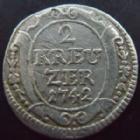 Photo numismatique  Monnaies Allemagne avant 1871 Allemagne, Deutschland, Baden-Durlach 2 Kreuzers  Baden Durlach, 2 kreuzers 1742, Karl Friedrich, Wielandt.673 TB+