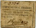 Photo numismatique  Billets Billets de confiance Assignats Commune de S. Ambroix 2 Sols Commune de S. Ambroix, billet de confiance de 2 sols, TTB