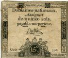 Photo numismatique  Billets Billets de confiance Assignats Domaine Nationaux Assignat de 15 sols Domaine Nationaux, assignat de 15 sols loi du 4.1.1792, Filigrane 15 S LNR LA NATION TTB