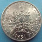 Photo numismatique  Monnaies Monnaies Françaises Cinquième république 5 Francs 5 francs Semeuse 1991, G.771 SUPERBE à FDC