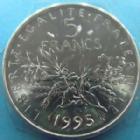Photo numismatique  Monnaies Monnaies Françaises Cinquième république 5 Francs 5 francs Semeuse 1995, G.771 BU