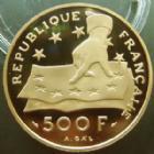 Photo numismatique  Monnaies Monnaies Française en or Cinquième république 500 francs or Descartes 500 francs or Descartes 1991, or 920°/°° 17 grms, qualité Belle Epreuve